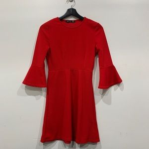 BOOHOO Red Skater Dress with Ruffled Sleeve